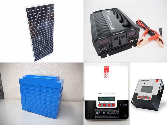 100W(35.5V)×2枚(200W) 太陽光発電システム(48V仕様) YB3150 SR-ML4830+SR-RM-5の写真です。