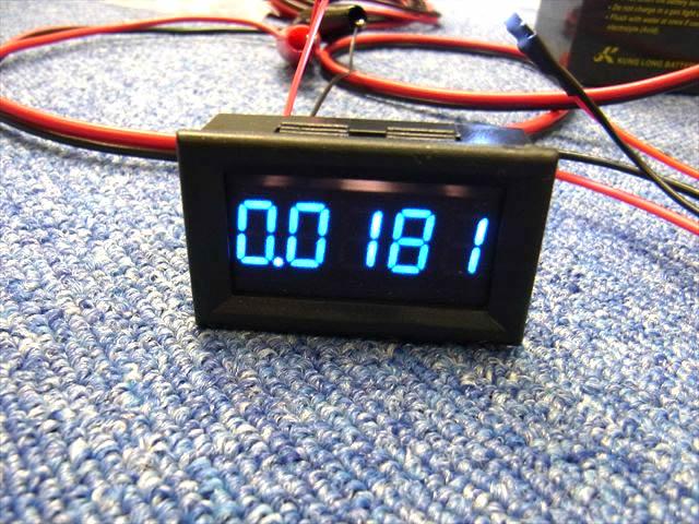 デジタル電流計パネルメーター(DC0〜3.0000A)青 ※シャント抵抗不要の写真です。