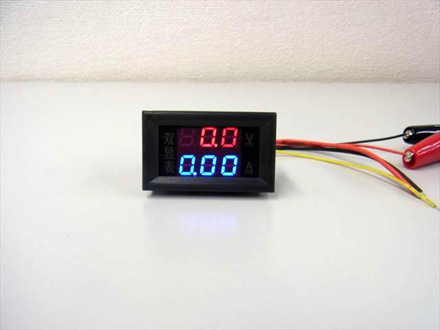デジタル電圧計&電流計 パネルメーター(10A:DC0V-200V) ※赤+青の写真です。