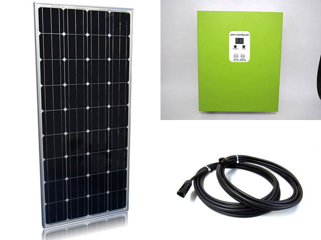 ソーラーパネル160W×2枚(320Wシステム:24V仕様)+eSmart MPPT-25Aの写真です。
