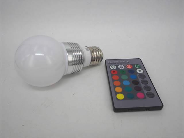 AC85〜265V用 3W RGBカラーバルブライト ※リモートコントローラー付の写真です。