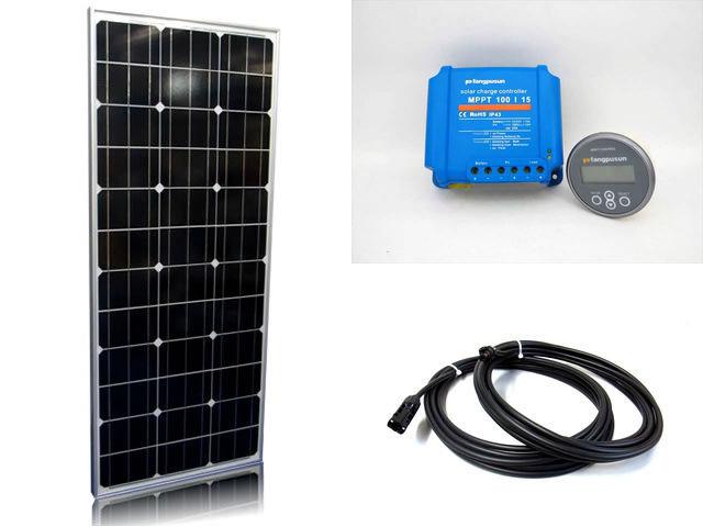 ソーラーパネル100W×2枚(200W)+Fangpusun MPPT100/15(15A)+ リモートコントローラー MPPT CONTROL