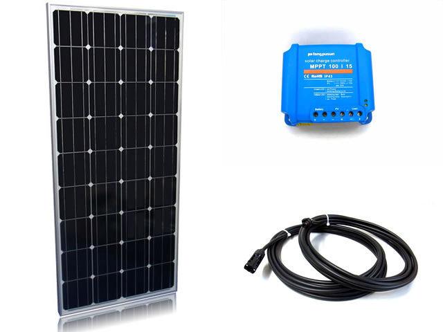 ソーラーパネル160W×2枚(320Wシステム:24V仕様)+Fangpusun MPPT100/15(15A)の写真です。
