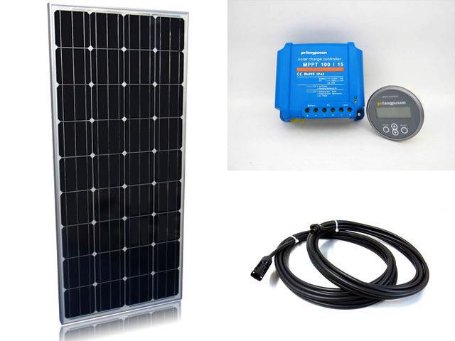 ソーラーパネル160W×2枚(320Wシステム:24V仕様)+Fangpusun MPPT100/15(15A)+ リモートコントローラー MPPT CONTROLの写真です。