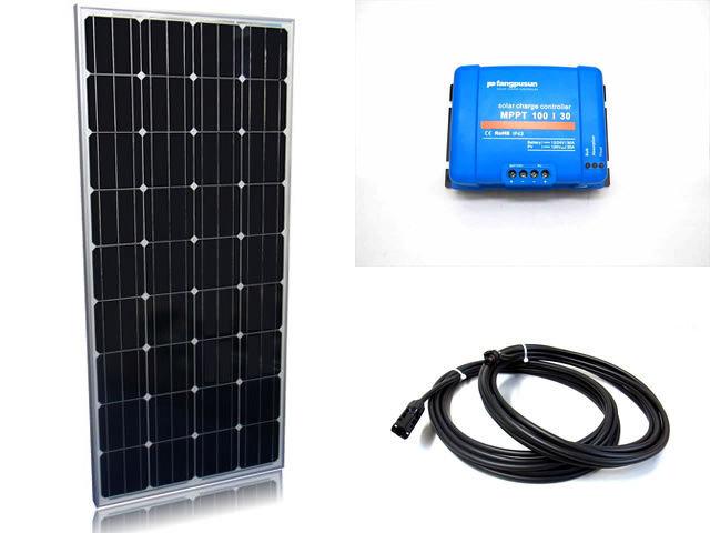 ソーラーパネル160W×2枚(320Wシステム:24V仕様)+Fangpusun MPPT100/30(30A)の写真です。