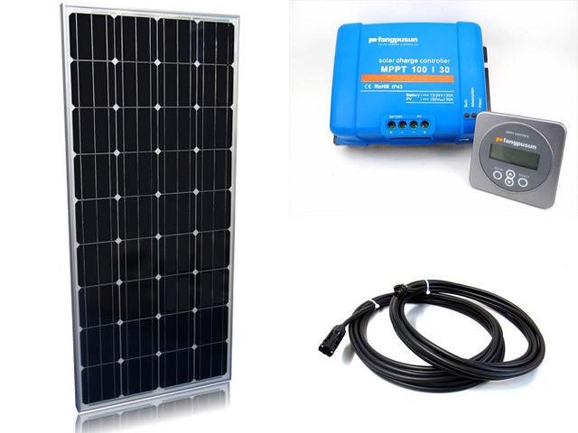 ソーラーパネル160W×2枚(320Wシステム:24V仕様)+Fangpusun MPPT100/30(30A)+ リモートコントローラー MPPT CONTROLの写真です。