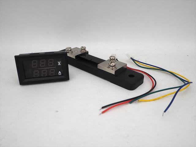 デジタル電圧計&電流計 パネルメーター(50A:DC0V-100V) ※シャント抵抗付の写真です。