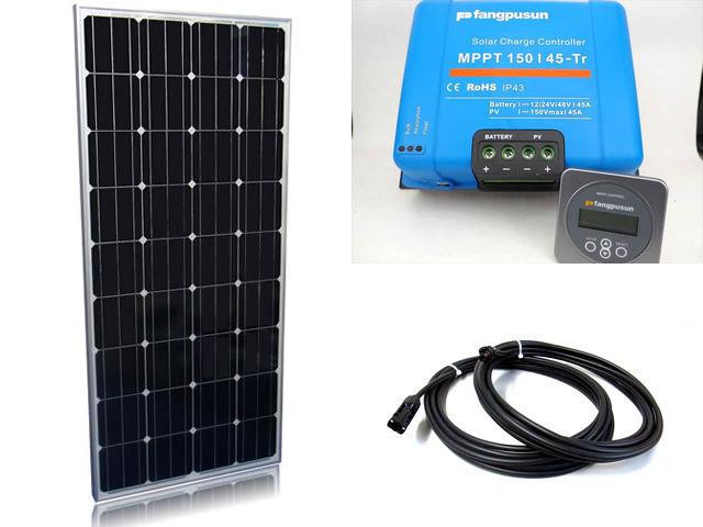ソーラーパネル160W×4枚(640Wシステム)+Fangpusun MPPT150/45-Tr(45A)+ リモートコントローラー MPPT CONTROL