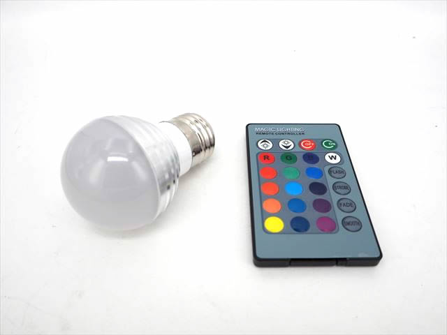 AC85〜265V用 3W RGB LEDライト ※リモートコントローラー付の写真です。
