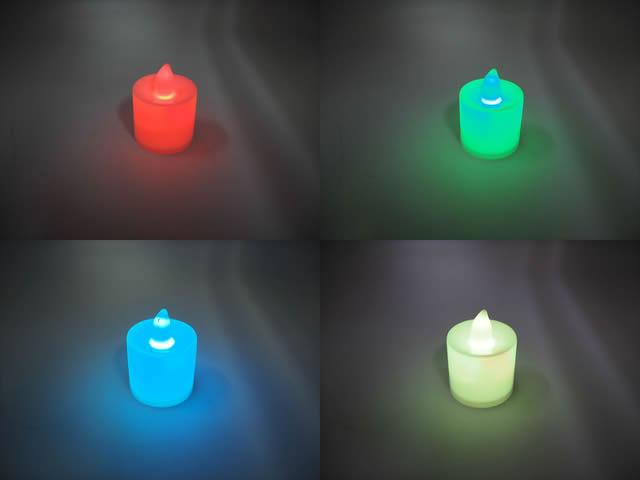 キャンドル型 デコレーションLEDライト ※6種類の色の変化と点滅の写真です。