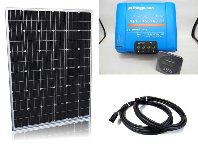 ソーラーパネル200W×16枚(3,200Wシステム:48V仕様)+Fangpusun MPPT150/60-Tr(60A)+ リモートコントローラー MPPT CONTROLの写真です。