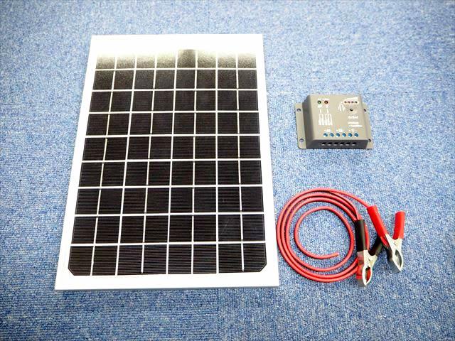 12Vバッテリー 補充電用 10Wパネル+PWMチャージコントローラー(5A)セット