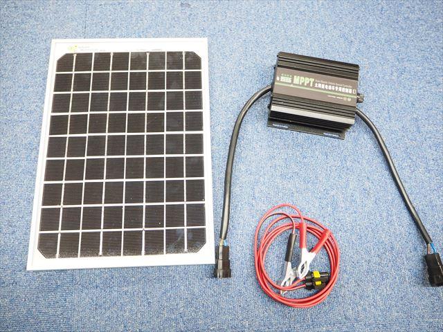 48V/60V/72Vバッテリー 補充電用 10Wパネル+MPPTチャージコントローラー JN-EV(15A)セットの写真です。