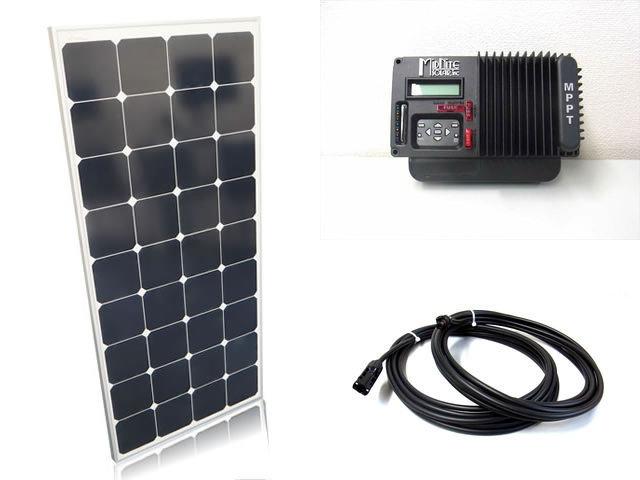 ソーラーパネル120W×6枚(720Wシステム)+The Kid MNKID-B(30A)(MidNite Solar製:アメリカ) ※黒の写真です。