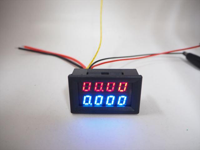 デジタル電圧計&電流計 パネルメーター(10A:DC0V-200V)4桁表示 ※赤+青の写真です。