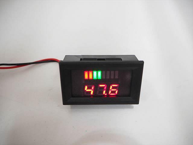 DC48V用 デジタル電圧計パネルメーター ※バッテリー残量ゲージ付きの写真です。