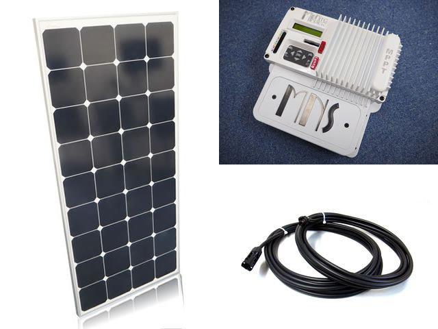 ソーラーパネル120W×6枚(720Wシステム)+The Kid MNKID-W(30A)(MidNite Solar製:アメリカ) ※白の写真です。