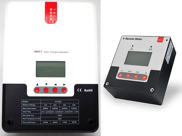 MPPTチャージコントローラー SR-ML4860(60A)+リモートメーター SR-RM-5