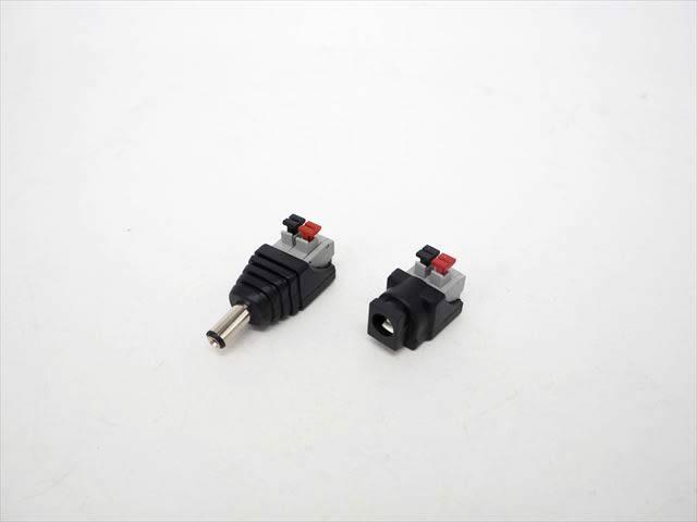 DCジャックプラグ コネクタ(オス・メスセット)※プッシュボタン式接続の写真です。