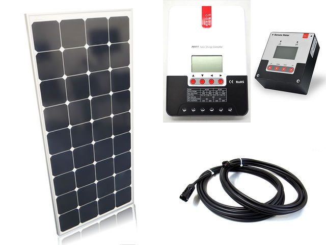 ソーラーパネル120W×6枚(720Wシステム:24V仕様)+SR-ML2430(30A)+ SR-RM-5の写真です。