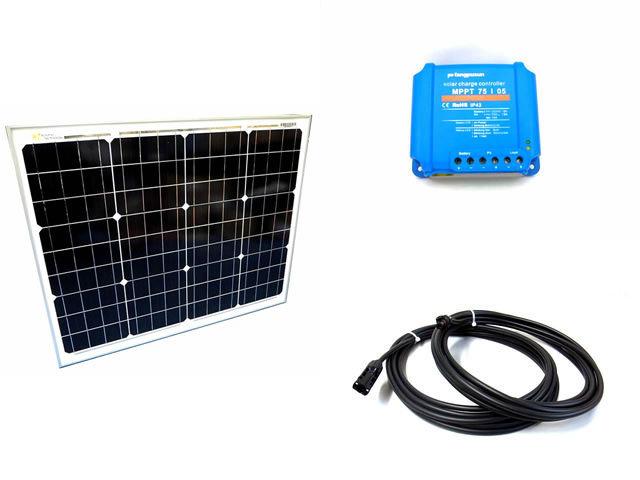 ソーラーパネル50W+Fangpusun MPPT75/05(5A)の写真です。