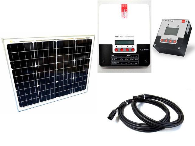 ソーラーパネル50W+SR-ML4830(30A)+ SR-RM-5の写真です。