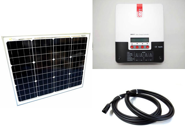 ソーラーパネル50W+SR-ML4830(30A)の写真です。