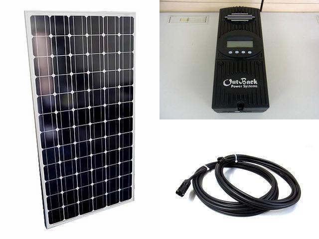 ソーラーパネル200W×4枚(800Wシステム)+OutBack Power FlexMax60(60A)の写真です。