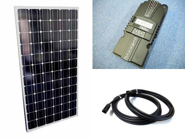 ソーラーパネル200W×8枚(1,600Wシステム:48V仕様)+Classic 200-SL(MidNite Solar製:アメリカ)の写真です。