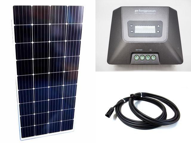 ソーラーパネル160W×4枚(640Wシステム)+Fangpusun MPPT150/70D(70A)の写真です。