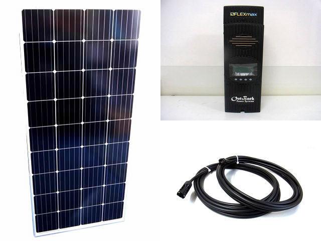 ソーラーパネル160W×4枚(640Wシステム)+OutBack Power FlexMax80(80A)の写真です。