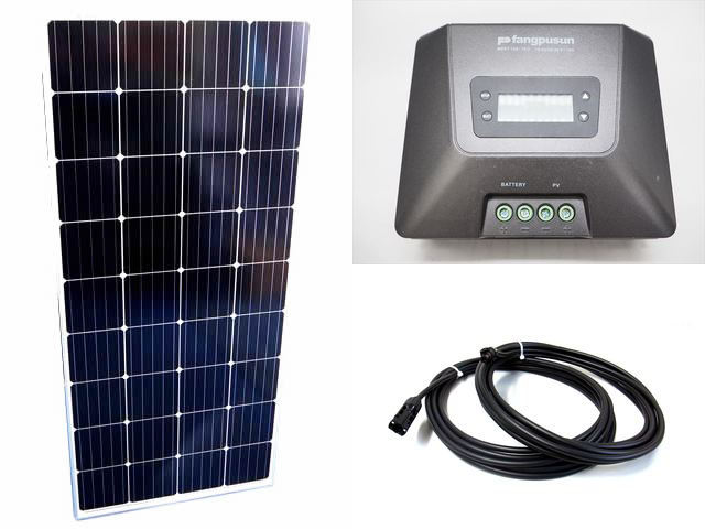 ソーラーパネル160W×8枚(1,280W)+Fangpusun MPPT150/70D(70A)の写真です。