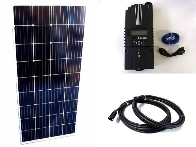 ソーラーパネル160W×8枚(1,280W)+Classic 250-SLの写真です。