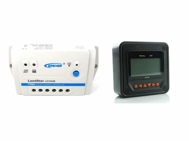 PWMチャージコントローラー LS1024B(10A)+リモートメーター MT50の写真です。