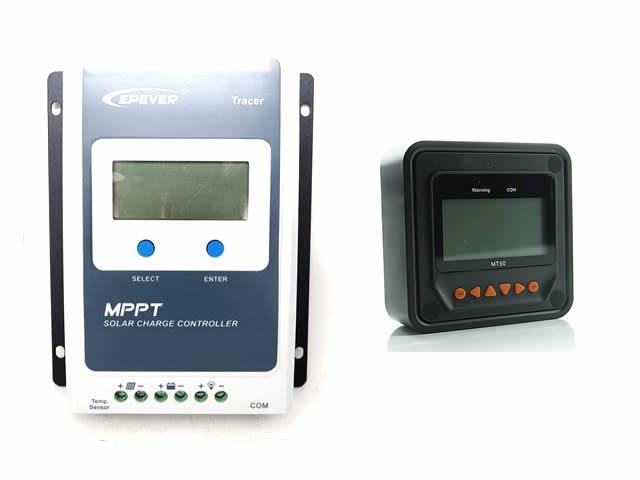 MPPTチャージコントローラー Tracer1210AN+リモートメーター MT50の写真です。
