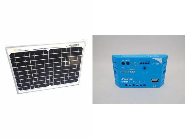 ソーラーパネル10W+LS0512EU(5A)の写真です。