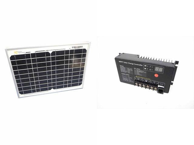 ソーラーパネル10W+SR-MT2410(10A)の写真です。