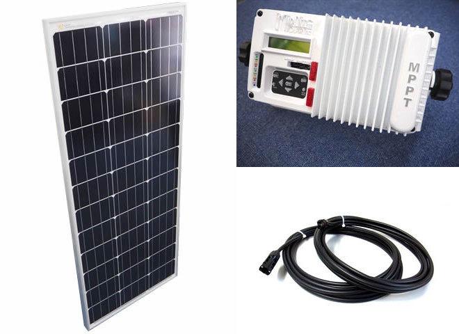 ソーラーパネル100W×10枚(1,000Wシステム:48V仕様)+MPPT マリン仕様 The Kid MNKID-M-W(30A)の写真です。