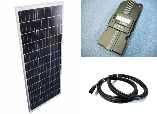ソーラーパネル100W×10枚(1,000Wシステム:48V仕様)+Classic 200-SL(MidNite Solar製:アメリカ)の写真です。