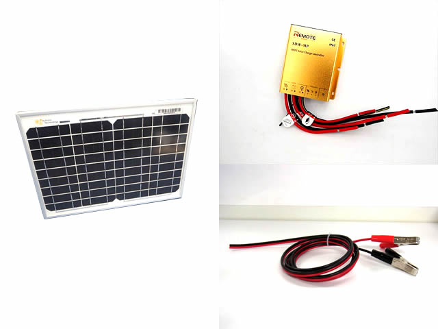 12Vバッテリー 補充電用 10Wパネル+防水MPPTチャージコントローラー(10A)セットの写真です。