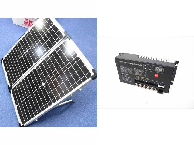 折り畳み式 ソーラーパネル 30W×2 ※35V+SR-MT2410(10A)の写真です。