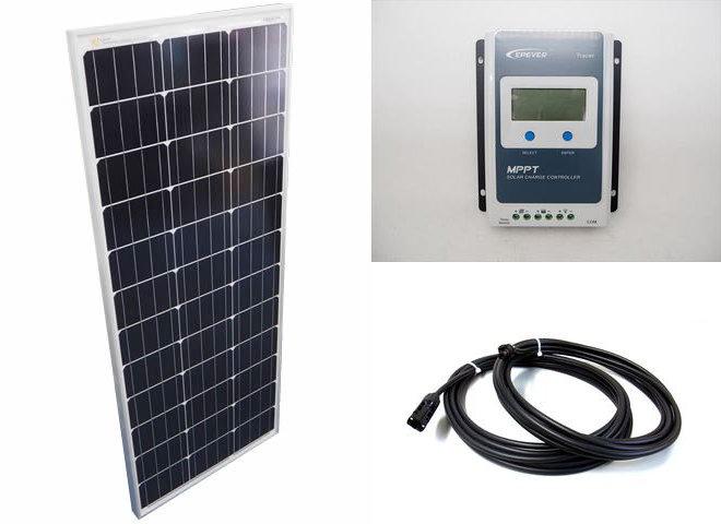 ソーラーパネル100W+Tracer1210ANの写真です。