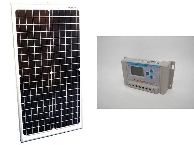 ソーラーパネル30W(35.6V)×2枚(60Wシステム:48V仕様)+PWM SL03-4810A(10A)の写真です。