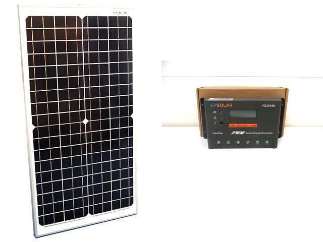 ソーラーパネル30W(35.6V)×2枚(60Wシステム:48V仕様)+VS2048N(20A)の写真です。
