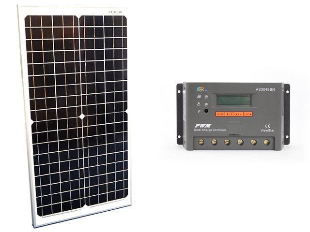 ソーラーパネル30W(35.6V)×2枚(60Wシステム:48V仕様)+VS3048BNの写真です。