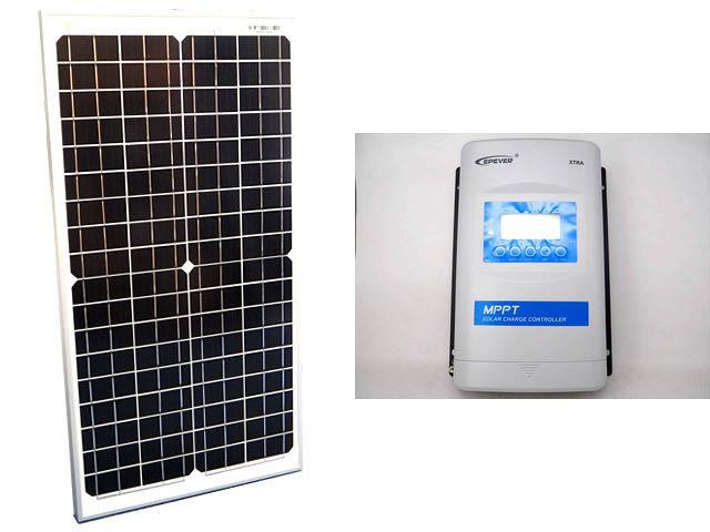 ソーラーパネル30W(35.6V)×2枚(60Wシステム:48V仕様)+XTRA3415N-XDS2(30A)の写真です。