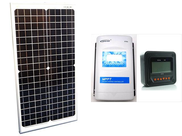 ソーラーパネル30W(35.6V)×2枚(60Wシステム:48V仕様)+XTRA3415N-XDS2(30A)+ MT50の写真です。