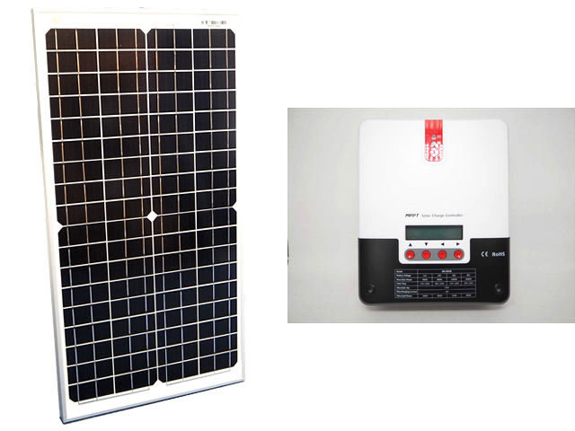 ソーラーパネル30W(35.6V)×2枚(60Wシステム:48V仕様)+SR-ML4830(30A)の写真です。