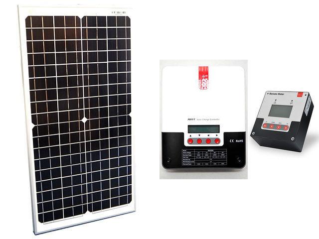 ソーラーパネル30W(35.6V)×2枚(60Wシステム:48V仕様)+SR-ML4830(30A)+ SR-RM-5の写真です。