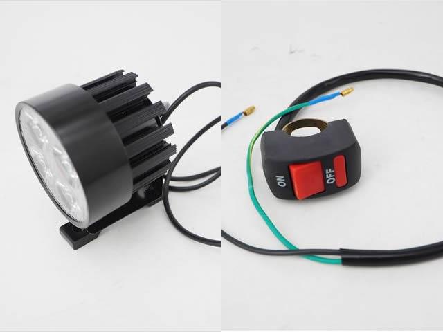 DC12V用 30W モーターサイクル防水LEDヘッドライト 2400LM(ON/OFFスイッチ付)※Whiteの写真です。